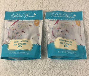 Lot Of 2 Pioneer Woman Birthday Cake Ice Cream Mix Package Makes 2 Quarts