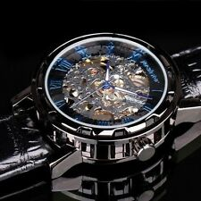 PACIFISTOR Mens Skeleton Mechanical Wrist Watch Steampunk Black Leather Luxury