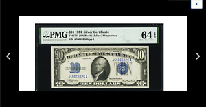 EYE APPEAL Fr. 1701 $10 1934 Silver Certificate. PMG Choice Uncirculated 64 EPQ.