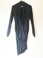 Forcast Women's Black Formal Drape Dress Size 8 Evening Party Formal Stretch