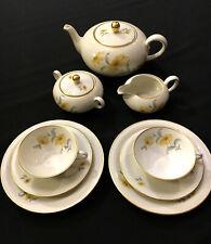 Fürstenberg Porzellan Tee-Set 2 Pers. 9 tlg., Goldrand, handgemalt um 1950