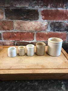5  Stoneware Vintage Ointment Jar Pots cream off White c1900