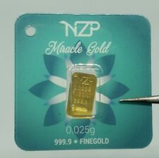 "0.025 1/40 gram gold bar 999,9 fine pure gold bar ""Miracle "" world smallest gold"