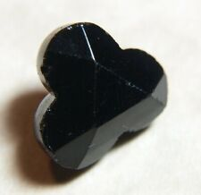 VICTORIAN BLACK GLASS CHARMSTRING BUTTON FACETED SURFACE CLOVER SHAPE