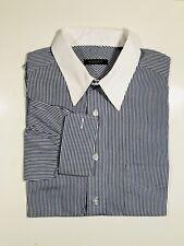 BURBERRY London Men's Shirt 15.5-35 striped White Collar  FRENCH CUFFS EUC