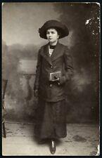 elegant girl wearing hat, reticule, gloves, Vintage Photograph, 1912.