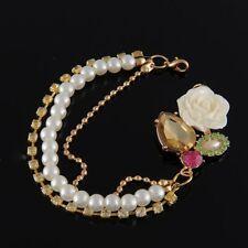 Rhinestone Rose Flowers Pearl Crystal Bracelet Charm Jewelry Vintage Gold Tone