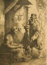 William Strang signed etching; The Lame Beggar, 1888