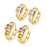 18K Gold Filled Square CZ Hollow Hoop Earrings Fashion Jewelry Womens Morden