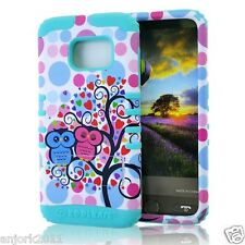 Bubble Owls/Mint Blue Anti-Shock Hard Cover+Soft Skin Case for Samsung Galaxy S7