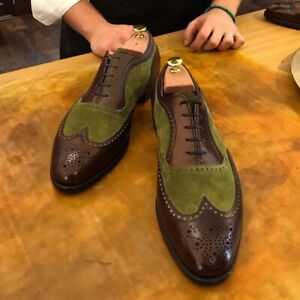 Handmade wingtip brogue shoes real leather and suede,lace Up dress shoes for men