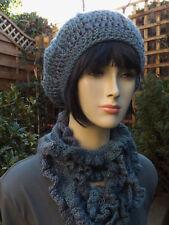 Frilly Scarf & Beret Set Blue Grey Mix Hand Crocheted 50% Wool & Pumium Acrylic
