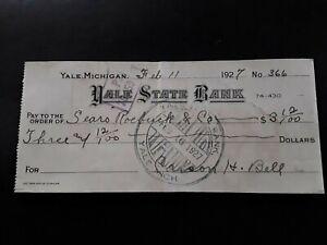 "Yale Michigan Bank Check ""Yale State Bank"" Pay To: Sears Roebuck & Co. 1927"