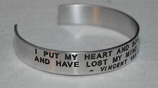 Quote By: ~ Vincent Van Gogh~ / Engraved, Polished Bracelet,Gift Bag