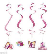12 x 1st Birthday Butterfly Party Hanging Swirls..Whirls...Twirls... Decorations