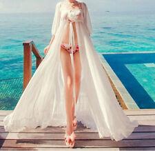 Women Bathing Suit Sexy Chiffon Bikini Swimwear Cover Up Beach Long Dress White