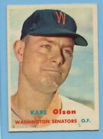 1957 Topps Baseball Card #153 Karl Olson -- Washington Senators  (EX)