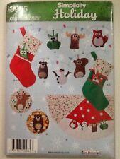 Simplicity Holiday Pattern 0965 OS Uncut Christmas Felt Ornaments Stocking