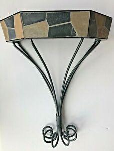PIER 1 Metal Wall Display Shelf Sconce Slate Tile Wrought Iron Support EUC