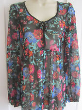 Ladies size 12 George black floral mix tunic top semi sheer long sleeves
