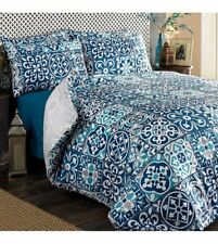 Blue Geometric Print Bedding Quilt Cover Duvet Set With Two Pillowcases Double