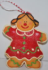 """Gingerbread Girl Christmas Ornament Chunky glitter Puffy Painted Resin 5"""" H"""