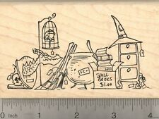 Halloween Rubber Stamp Witch Garage Sale, Cauldron, Spells, Broomstick N22419 WM