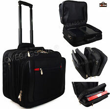 "Quality Wheeled 15"" 17"" Laptop Business Aeroplane Pilot Briefcase Executive Bag"