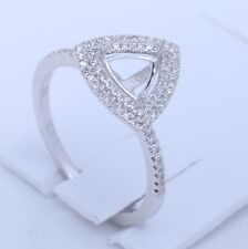 Classic 10K White Gold Trillion Semi Mount Diamond Engagement Wedding Fine Ring