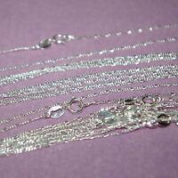 "5 pcs 16.5"" 42cm Diamond Cut Sterling Silver 925 1mm FIGARO CHAIN NECKLACES Lot"