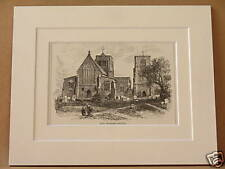 EAST DEREHAM CHURCH ANTIQUE MOUNTED ENGRAVING c1890 OLD