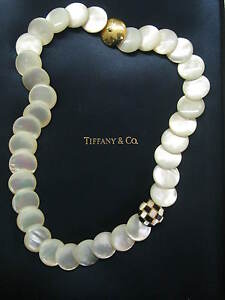 """Tiffany & Co Mother of Pearl & Onyx Necklace 18Kt Yellow Gold 18"""""""