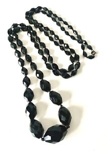 Victorian Gothic Fated Black Glass Graduating EXTRA LONG Necklace - 50inch