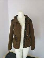 💖Zara💖 Trafaluc Outerwear Army Green Military Jacket Coat Quilted Hood Size XS