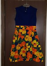 VINTAGE 1960s KAY WINDSOR MOD Vibrant FLOWER PRINT SHIFT DRESS size 8/10 ?