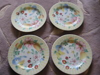 Set Of 4 Atmosphere Pfaltzgraff Grandma's Kitchen Yellow Floral Salad Plates
