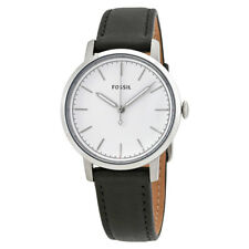 Fossil Neely White Dial Ladies Black Leather Watch ES4186