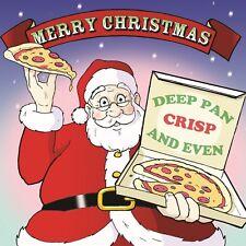 Merry Christmas Card with Santa & Pizza -Funny Christmas Card -Xmas Card -King