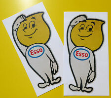 ESSO OIL DROP MAN Classic Car 'WORN RETRO EFFECT' stickers decals Mini cooper