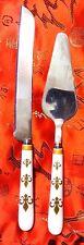 """Vintage 11"""" Cake Knife Server Set Ceramic Fleur de Lis Handles 18/10"""