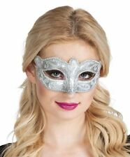 Womens Silver Glitter Venice Venetian Eye Mask Masquerade Ball Fancy Dress