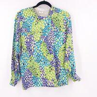 Vintage Escada by Margaretha Ley Blouse Size 36 Long Sleeve 100% Silk Multicolor