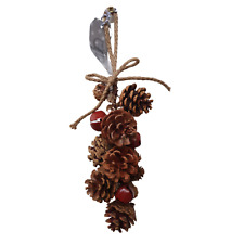 Natural Pine Cone Hanging Decoration - Red Bells and Rope