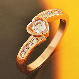 Womens Rose Gold Filled Crystal Heart Engagement Wedding Promise Ring Size 8
