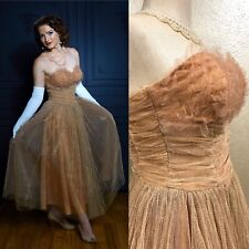 Vintage 1950's Ladies Gold Tulle Dress Evening Gown Prom Formal Dance Sparkle