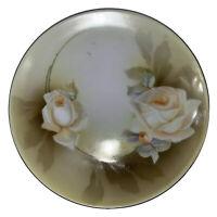 """Antique RS GERMANY TEA PLATE CLEMATIS Hand Painted Art Nouveau Porcelain 8"""""""
