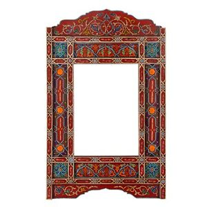 Moroccan farmhouse Red Brick hanging mirror frame, decor of wood, hand-painted