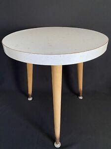 "Vintage Mid-Century Modern Starburst Formica Top 18 "" Dia. 3 Leg Round End Table"