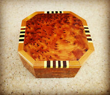 Hexagonal Thuya Wood Trinket / Jewellery / Memory Box  Hand-carved in Morocco