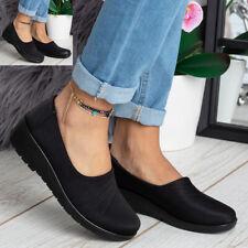 Womens Ladies Comfort Office Low Wedge Heel Slip On Light Work Nurse Shoes Size